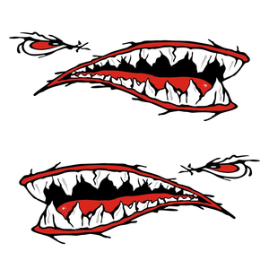 Image 4 - 2 Pcs Denti di Squalo Bocca Sticker Bocca Dei Pesci Sticker Barca Da Pesca Canoa Auto Camion Barca Kayak Gonfiabile In Vinile Adesivi Accessori