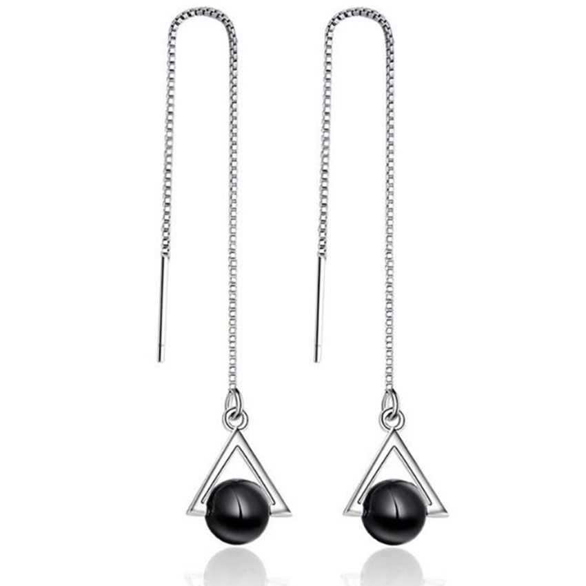 New lady fashion temperament cute long tassel ear triangle natural black crystal earrings silver retro jewelry
