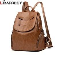 Luxury Backpack Women Famous Brand Leather Backpack Large Capacity Bookbag Simple Travel Backpacks Leisure Shoulder Bags Female
