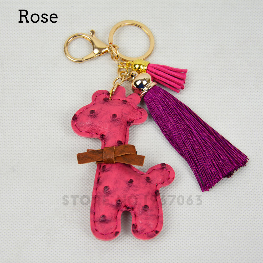 Small Colorful Leather Giraffe Luxury Silk Tassel Cute Pendant Handbag Accessory Small Decoration For Handbag EVA AMbag Obag