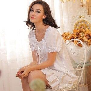 Image 4 - Camicia da notte da notte di marca camicie da notte da donna camicie da notte di cotone abbigliamento da interno Sexy abito da casa camicia da notte bianca abito da principessa taglie forti