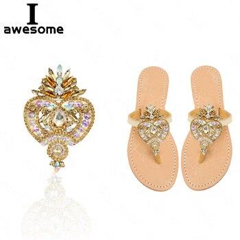 Estilo bohemio oro flores de diamantes de imitación brillante novia zapatos de fiesta de boda accesorios para Sandalias de tacón alto botas decoraciones