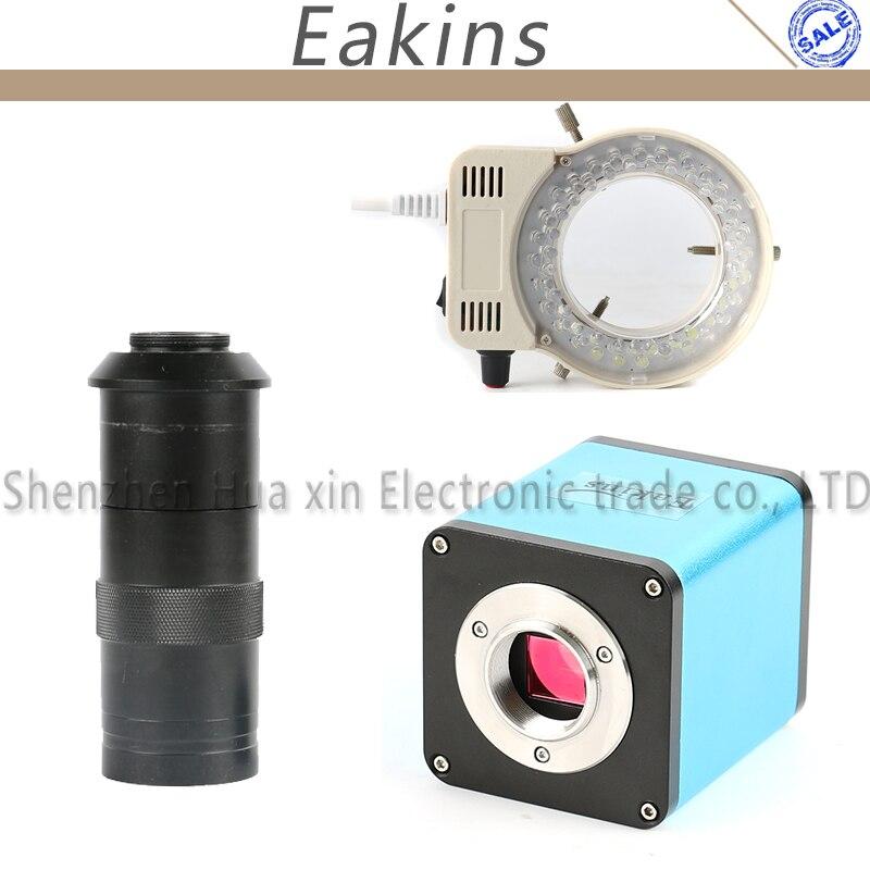 Autofocus 1080 P HD 60FPS Macchina Fotografica Ad Alta Velocità SONY IMX290 Sensor HDMI Industria Microscopio + 100X C-mount Lens 56 Anello di Luce LED
