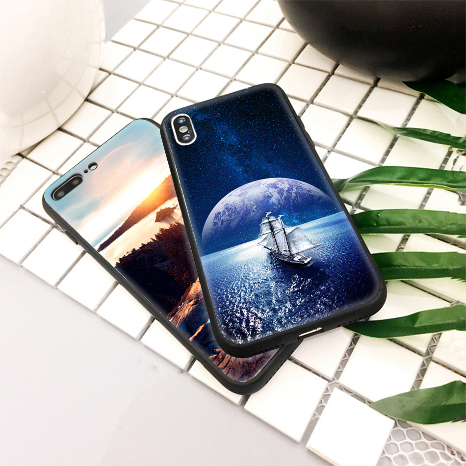 TOMKAS Star Sky Pattern Glass Case For iPhone X 7 8 6 6 s Cover Phone Cases For iPhone 7 8 6 6s Plus X Case Silione TPU PC Coque (14)