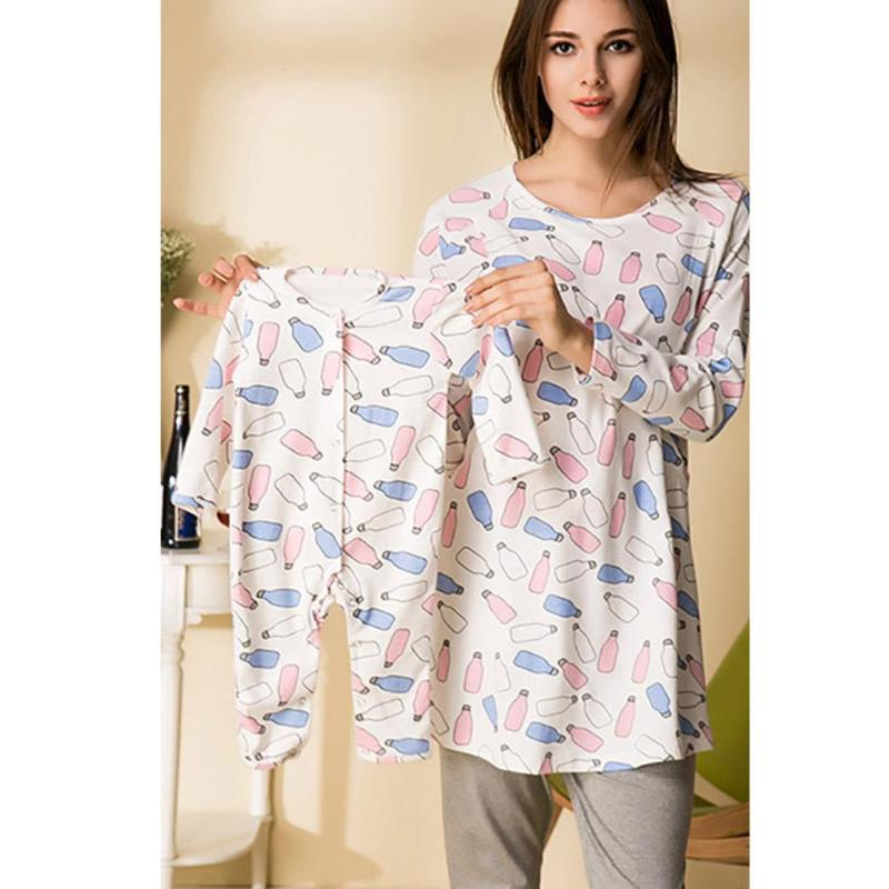 Pregnant Breast Feeding Pajamas Sets + Infant Baby Romper Cotton Print Pregnancy Mother Baby Sleepwear Long Sleeve Lounge Sets