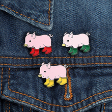Cute pig red rain boots Enamel pin piglet brooch badge denim jeans cartoon cute animal little girl jewelry gift