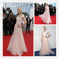 Sexy Tanya Dziahileva Pink Sequined Short Sleeve Celebrity Dress Cannes Festival 2015 Long Evening Gowns Evening Dresses CD19