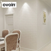 Decortive 3D Wallpaper Brick Wall White Red Grey Embossed Wall Paper Roll For Living Room Bar