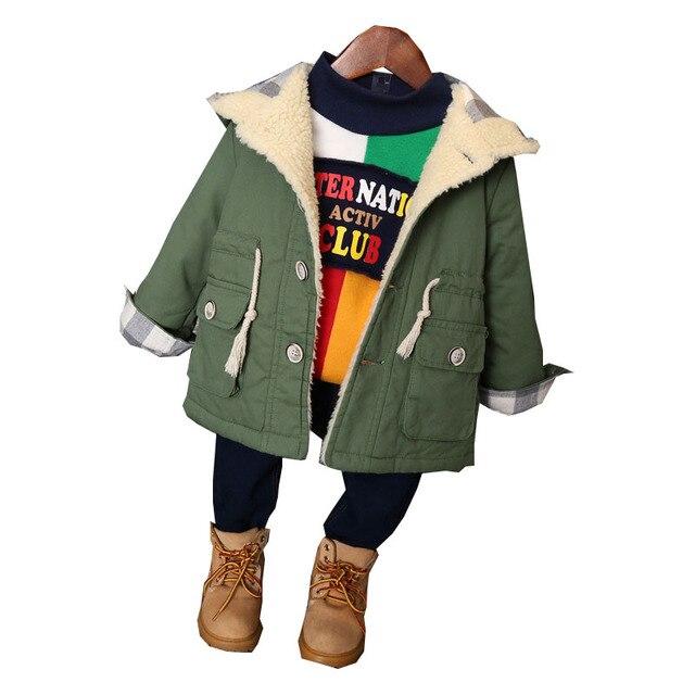 Корейская Детская Одежда Мальчиков Зимние Куртки Мода Army Green Хлопка С Капюшоном Толщиной Верхней Одежды Дети Мальчики Пальто Для 2-8Years