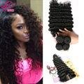 7A Virgin Hair Brazilian Deep Wave With Closure Cheap Human Hair Bundles Brazilian Virgin Hair With Closure Brazilian Deep Curly