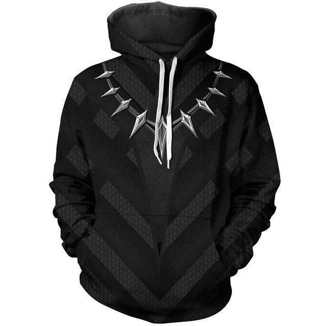 2018 new Marvel Black Panther Avengers Men's Sports Hoodie Fashion 3D Print Hoodie Street Casual Role Playing Hooded Pullover