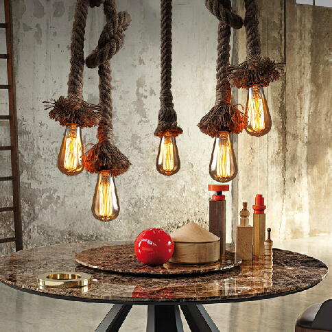 European Vintage Hemp Rope Droplights American Country Retro Bulbs Pendant Lights Fixture Home Indoor Lighting Dining Room Lamp nordic vintage hemp rope droplight american country retro candle pendant lights fixture dining room restaurant cafes pub lamps