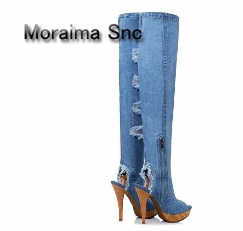 7e122511b84 De Mezclados Plataforma 2018 Tacones Botas Zapatos Toe Colores Azul Fringe  Moraima Peep Muslo Recorte Mujeres Vaquero Altos ...