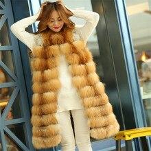 Leayh 90/100/110cm Luxury Fox Fur Whole Coats Women Ladies Fashion Warm Real Red Thick Stripes Long Vests