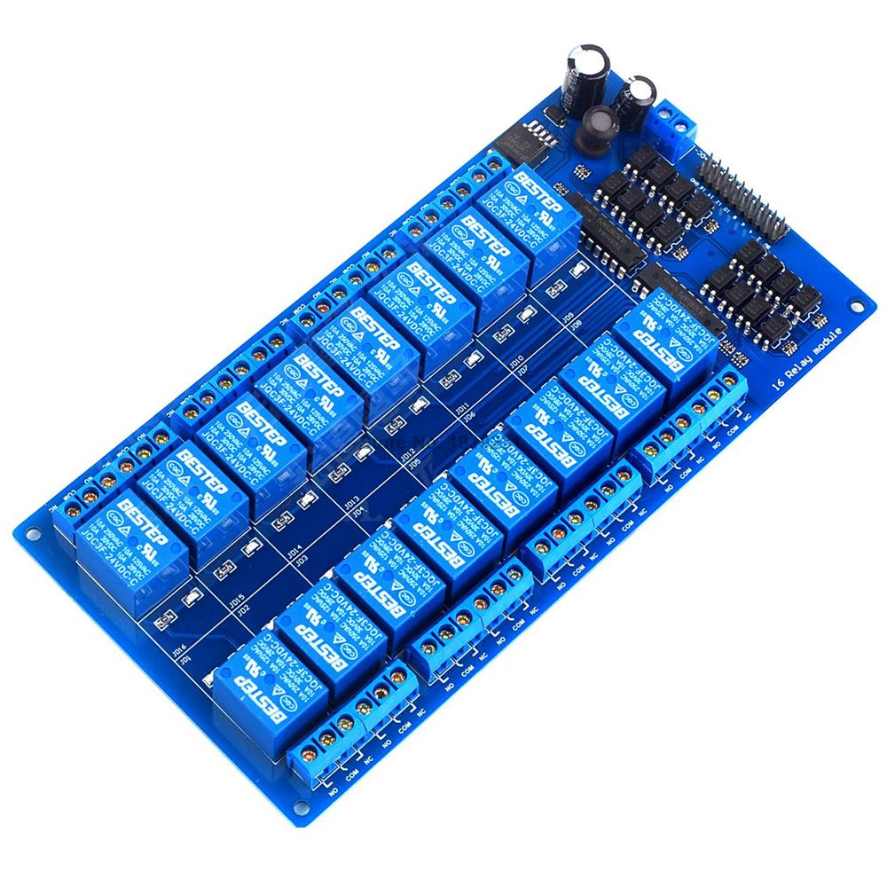 16 Channel 24V Relay Module Board with Optocoupler Power Supply ARM DSP fc 16 b 1 channel 24v relay module blue