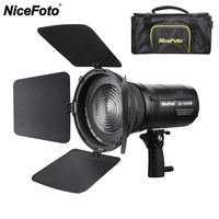 Nicefoto 100W Bowens Mount Portable COB LED Video Light with Fresnel Mount Barndoors for Broadcasting Interview PK Aputure 120D