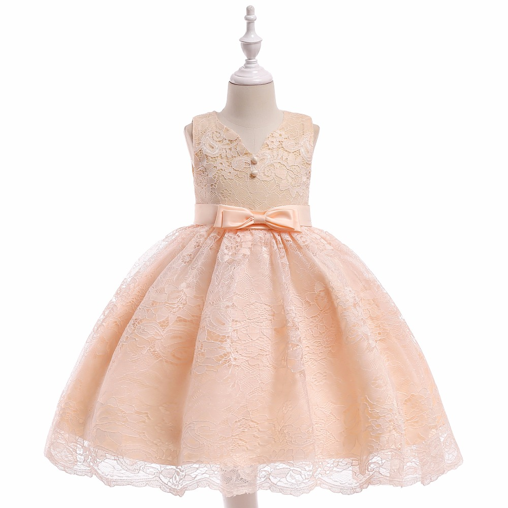 New O Neck Lace Champagne   Flower     Girl     Dresses   Kids   Dresses   for Wedding Little Gowns