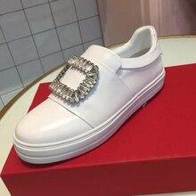 Hanbaidi Women Casual Shoes Luxury Rhinestone Slik Slip On Loafers Runway Style Tound Toe Gladiator Flats