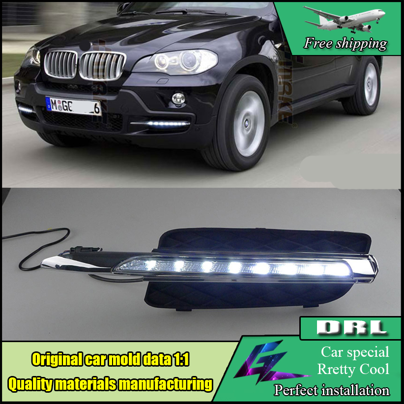 Car Styling LED DRL Daytime Running Light For BMW X5 E70 2007-2010 LED Waterproof Front Bumper Fog Lamps Daylight DRL car flashing 2pcs drl for bmw x5 e70 2007 2008 2009 2010 daytime running lights daylight car led fog head lamp light cover