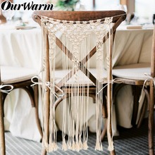 OurWarm Boho Wedding Bride Groom Chair Decoration Macrame Wall Hanging Back cover Backdrop Home Party