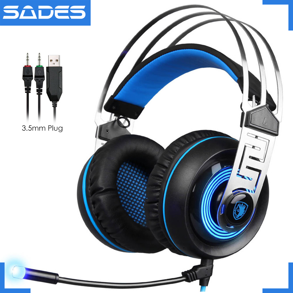 Original SADES A7 3.5mm Plug Big Gaming Headset Computer Game Headphones With Mic & Backlight For Game Player lucky john croco spoon big game mission 24гр 004