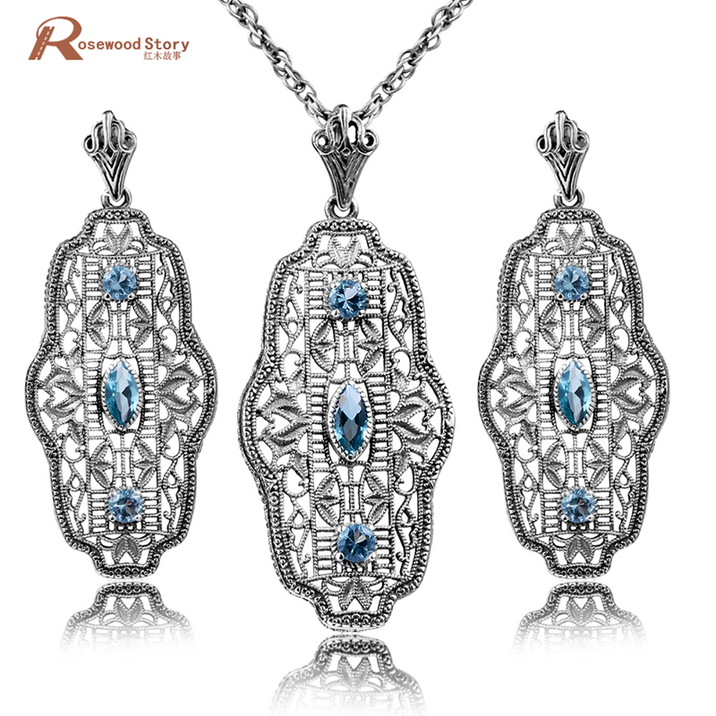 Genuine 925 Sterling Silver Jewelry Wholesale Handmade Blue Rhinestone Crystal Vintage Bridal Jewelry Sets Pendant&Earings ethiopian wedding jewelry sets blue rhinestone crystal for women 925 sterling silver earrings ring pendant bridal jewelry set