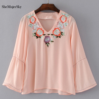SheMujerSky Floral Embroidery Blouse Women S Shirt Blouses 2017 Long Sleeve Women Tops Camisetas Mujer