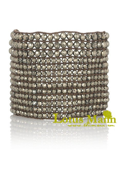 hot adjustable nobleness cuff bracelet with pyrite for woman Wrap Bracelet on Leather