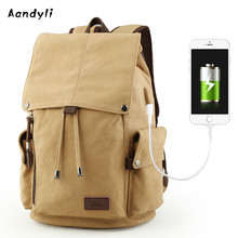 USB interface canvas man bag Travel Backpack leisure computer bag Han edition college student bag man