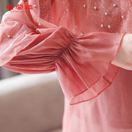 1 Clothing sleeved New Long Women's Wave 2019 Shirt Spring 2 Korean Chiffon Tn4pv