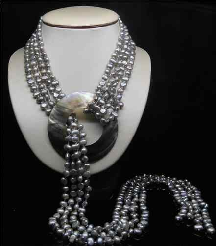 """32 """"Tự Nhiên 2-Liên Tiếp 5-6 Mm AAA Silver_Gray Baroque Cổ Ngọc Trai Miễn Phí Vận Chuyển"""