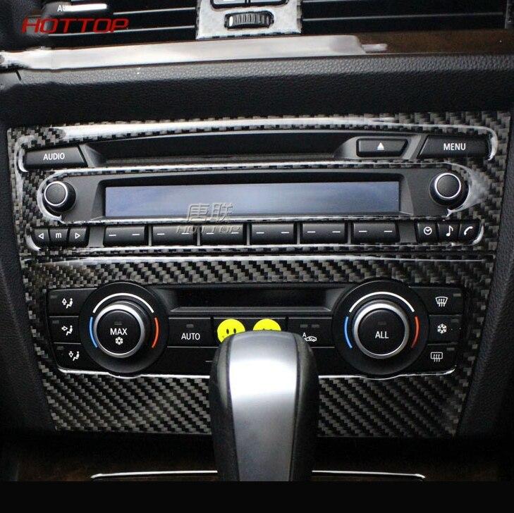 Pour bmw e90 e92 e93 garniture intérieure en Fiber de carbone climatisation CD panneau de commande décoration voiture style 3 série accessoires