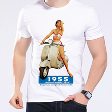 Retro Cartoon Vespa Girl Riders Men T Shirts Cool Shirts Small Motorcycles Scooters High Quality Short Sleeve Funny T-Shirt L247