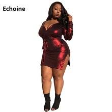 купить Women Sexy V-neck Mini Dress High Split Bodycon Long Sleeve Dress Slim Skinny Club Outfit Plus Size Elegant Wrap Party Dresses по цене 980.07 рублей