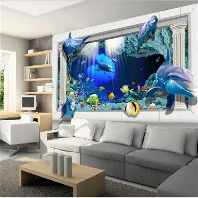 Beibehang Mural Underwater World Childrens Room Living Ocean 3Ddimensional Space People Wallpaper