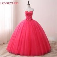 LOVSKYLINE Hot Elegant Sweetheart Wedding Dress 2018 Rose red Actual Picture Beading Crystal Custom Size vestido de noiva