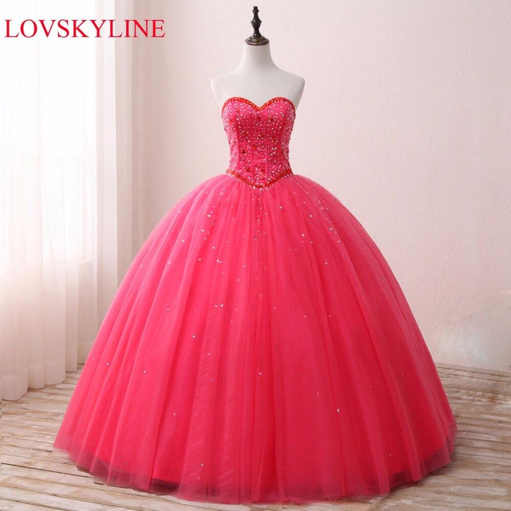 LOVSKYLINE Hot Imagem Real Beading Elegante Vestido de Noiva Querida 2018 Rosa vermelha de Cristal Tamanho Personalizado vestido de noiva