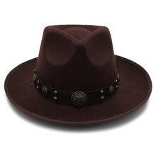 Для женщин фетровая шляпа с широкими полями Джаз Шляпа джентльмен сомбреро леди церкви Hat стимпанк Ремень Размеры 58 см