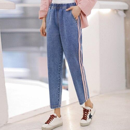 Nuevo verano 2018 pantalones vaqueros ajustados a rayas laterales para mujer cintura alta hasta el tobillo moda parche empalme vaquero novio Jeans Mujer