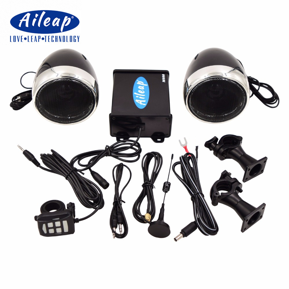 Aileap M600 Motorcycle/ATV Audio System with Bluetooth, FM Radio, Aux Input, Wired Control, One Pair of 3.5 Waterproof Speakers one pair of 12v waterproof
