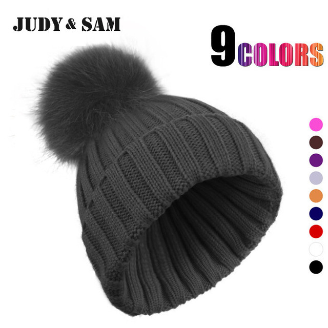 2015 Factory Direct Sale Apparel Accessories Colorful Big Fox Fur Ball Warm Skullies For Women Knitted Style Winter Beanies