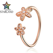 Starland New OL Style 925 Sterling Silver Clear CZ Flower Open Rings For Women Casual Rose Gold Color Ring Fine Jewelry Gifts
