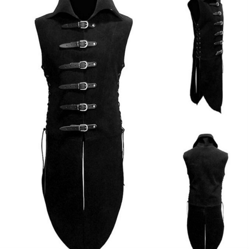 Adult Men Middle Age Renaissance Knight Solider Armor Costume Vest Medieval Landlord High Neck Top Shirt Leather Button Clothing