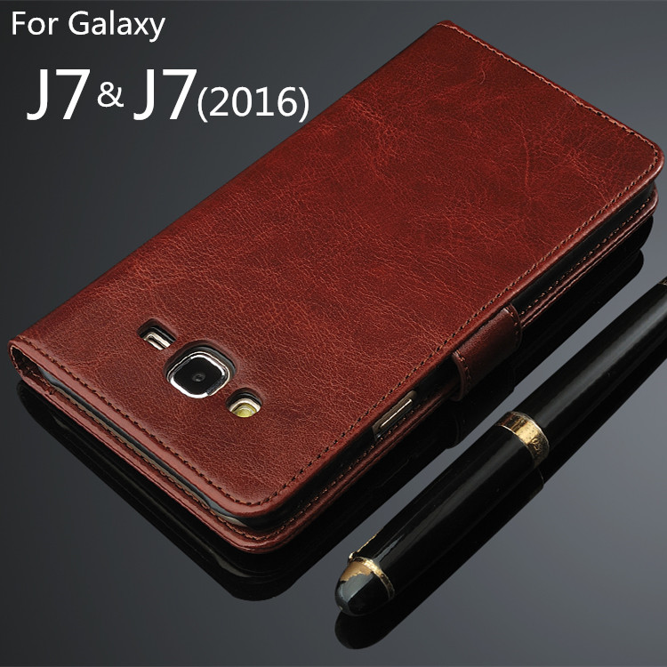 For fundas Galaxy J7 2016 High Quality Flip Cover Magnetic Holster PU Leather phone case For Samsung Galaxy J7 2016 J710F J700