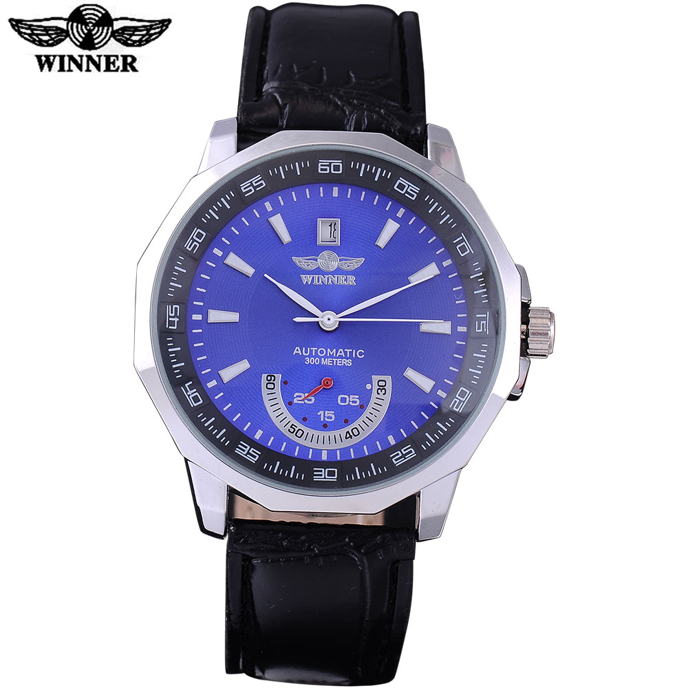 WINNER 2016 popular brand men fashion automatic self wind watches silver case blue dial transparent glass quality leather band 2017 winner famous brand men fashion automatic self wind watches white dial transparent glass silver case stainless steel band