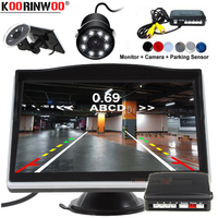 Koorinwoo Universal Parktronic With Camera Dynamic Trajectory Parking Line Rear Sensors 4 Blind spot detection With Monitor Car