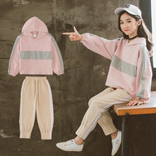 Autumn New Girls Outfits Long-sleeved Sweatshirt With Trousers Girl Set Cotton Tops Sport Suit Teenage Girls Clothing