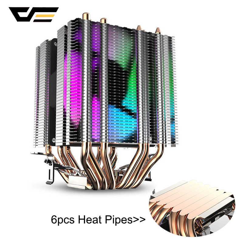 Darkflash CPU Cooler 6 Heatpipes Dual-Tower Heatsink 3pin 90 Mm Fan RGB Thermal Grease Cpu Pendingin Udara untuk LGA775 115X/1366/2011