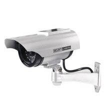 2pcs/lot Dummy Camera Solar + Battery Powered Blink Flicker LED Outdoor Fake Surveillance Home Security Camera Bullet CCTV