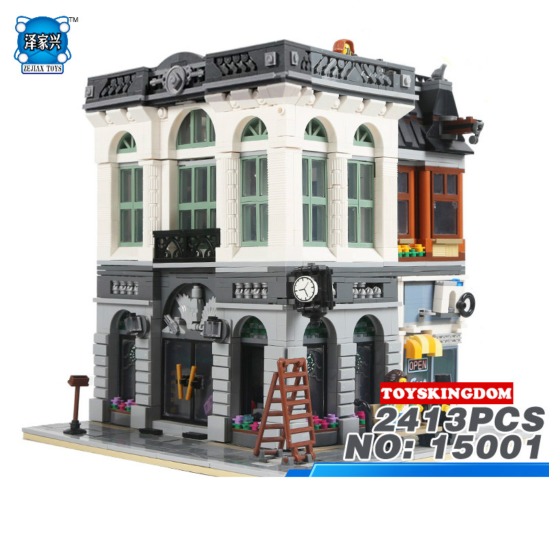 Hot Creators City Street View Bank Building Block Model Bricks Educational Toys Collection for Children Gifts Compatible Lepins hot city series aviation private aircraft lepins building block crew passenger figures airplane cars bricks toys for kids gifts
